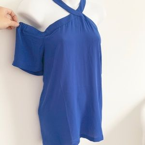 LOFT Cobalt Blue Cold Shoulder Top